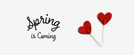 Spring is coming message with red glitter heart picks - flat lay