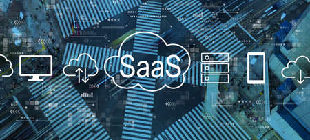 SaaS - software as a service concept with busy city traffic intersection