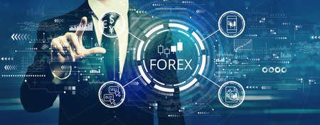 Forex trading concept with businessman
