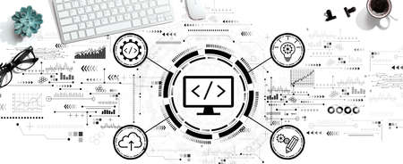 Web development concept with a computer keyboard