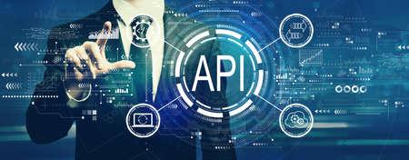 API - application programming interface concept with businessman Standard-Bild