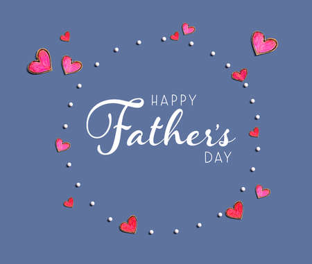 Happy fathers day message with hand draw hearts