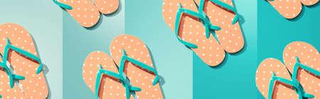 Summer concept with flip flops overhead view Standard-Bild