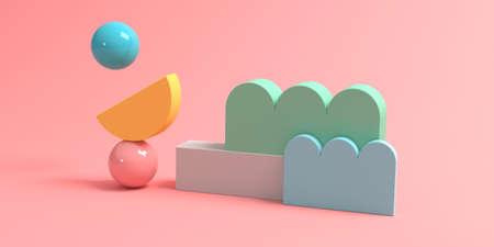 Abstract 3D render of geometric shapes Standard-Bild