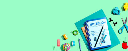 Notebooks with school supplies