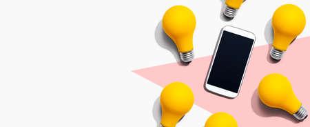 Smartphone with yellow light bulbs