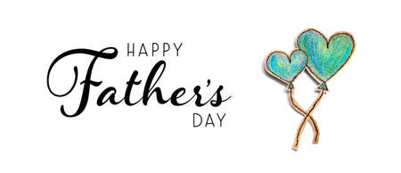 Happy fathers day message with hand draw blue hearts Standard-Bild