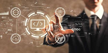 Web development concept with businessman