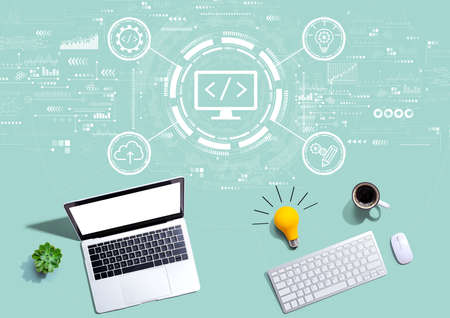 Web development concept with computers with a light bulb Standard-Bild