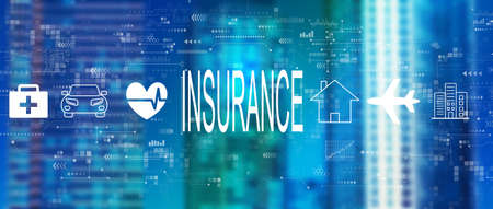 Insurance concept with downtown skyline Standard-Bild