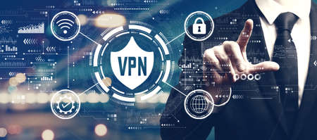 VPN concept with a man on city background