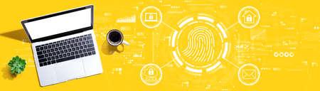 Fingerprint scanning theme with a laptop computer