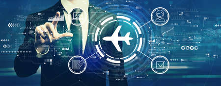 Flight ticket booking concept with businessman