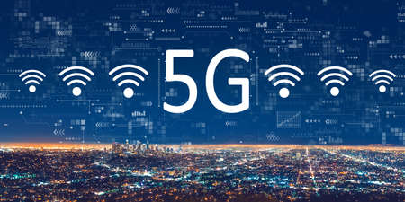 5G network with downtown Los Angeles 版權商用圖片