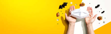 Facial masks with Halloween objects 版權商用圖片