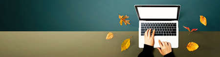 Autumn leaves with person using a laptop computer