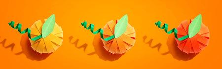 Paper craft autumn pumpkins 版權商用圖片