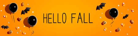 Hello fall message with balloons and Halloween decorations 版權商用圖片