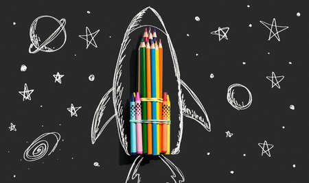 Back to school theme with hand drawn rocket and pencils 版權商用圖片