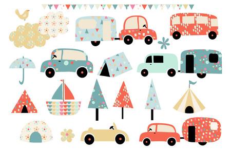 Summer vacation caravan and camping vector illustrations Illustration