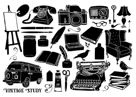 Vintage style hand drawn study, library and writing elements