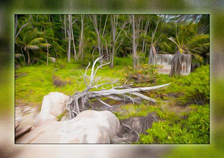 Seychelles - Anse Source D'Argent, glass painting