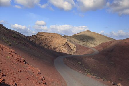 Volcanic landscapes on Timanfaya. Lanzarote. Canary Islands. Spain, Stock Photo