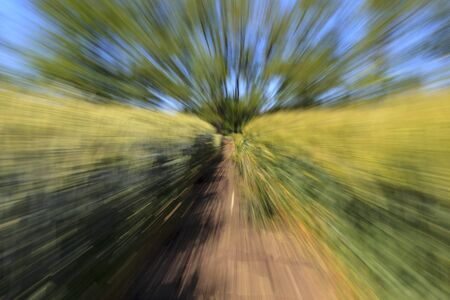 the effect of zooming on a long exposure, The track is blurry in motion Stok Fotoğraf
