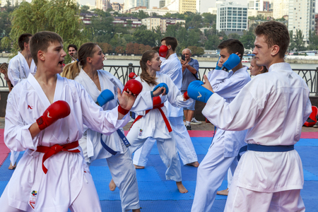 Rostov-on-Don, Russia-September 25, 2018: embankment of Don river; celebration of the city day, children are engaged in karate; editorial.