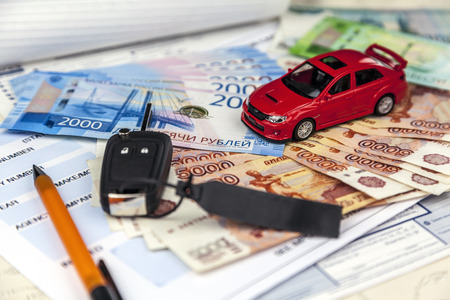 Rostov on Don, Russia, May 23, 2018: The concept of motor insurance in Russia. Compulsory Third Party  Green Slip Insurance policy,russian rubles.