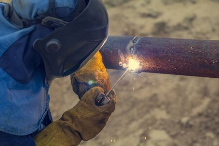 work of electric and gas welder, repair of metal structures 写真素材