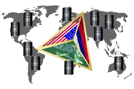 The concept of the Golden Triangle of the effects of world oil production: Saudi Arabia, Russia and the USA, 3D-elements