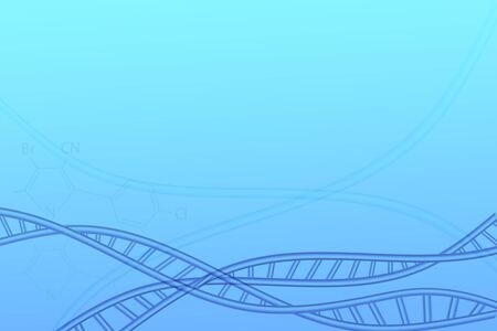 April 25, international DNA day. DNA molecule structure on abstract blue background