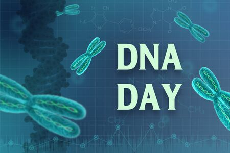 April 25, international DNA day. human DNA molecule on abstract green blackboard background