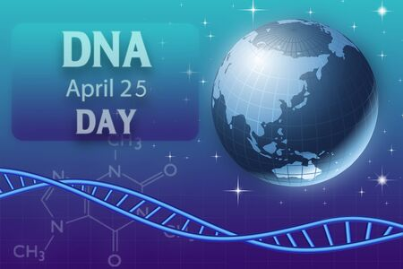 April 25, international DNA day.  DNA molecule on abstract blue background 版權商用圖片