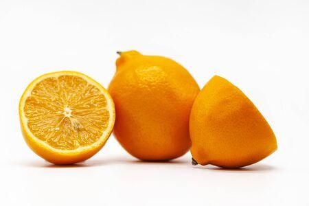 Meyer, orange lemon from Uzbekistan,  lemon  on a white background, isolated