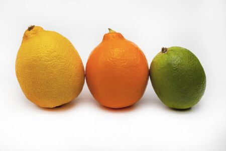 Meyer, orange, lemon from Uzbekistan, three different lemons on a white background, isolated 版權商用圖片