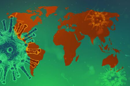 The whole world is covered by virus Covid-19, infection marked on the world map, 2020 pandemic.