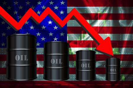 The world oil crisis in 2020, the fall in the price per barrel oil under the influence of coronavirus. Down arrow on the background of the American flag and barrels of oil., 3D-elements