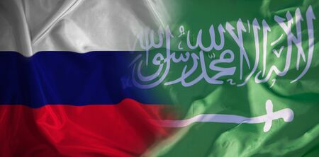 Confrontation, cooperation between the two states in oil production. Flag of the Russian Federation and Saudi Arabia. 版權商用圖片