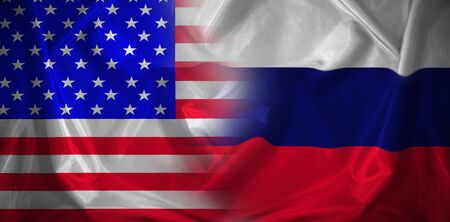 Confrontation, cooperation between the two powers. Usa flag and Russia flag. 版權商用圖片