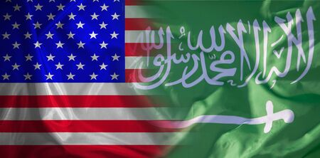Confrontation, cooperation between the two states in matters of oil production. Usa flag and Saudi Arabia.