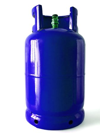 blue gas bottle isolated on a white background.