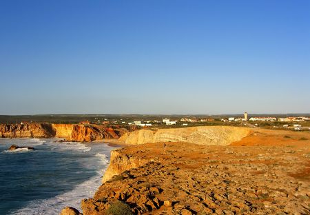 mediterrean: landscape view of the Tonel beach near Sagres on Portugal.