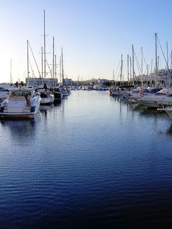 vilamoura: Marina view of Vilamoura near Quarteira City, Algarve, Portugal, with its many cool boats. Stock Photo