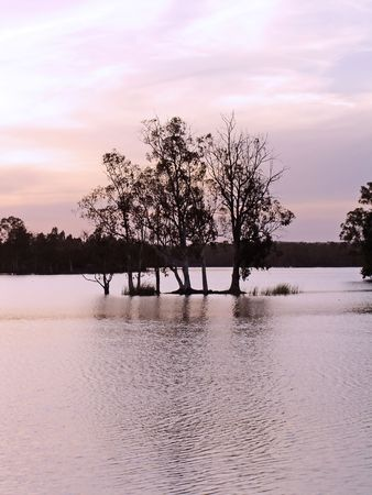 Lake near Mina de S.Domingos on Alentejo, Portugal, at sunset with some trees on its middle. photo