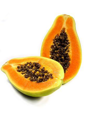 Papaya fruit sliced on half isolated on a white background. Standard-Bild