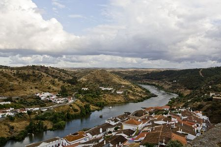 region of algarve: Guadiana river passes through this small village, M�rtola, located on the Algarve region on Portugal.