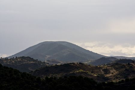 region of algarve: View of a tall hill on the interior region of Algarve on Portugal. Stock Photo