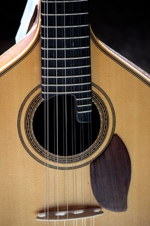 Closeup view of a classic guitar on a music studio.